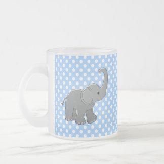 blue baby shower elephant frosted glass coffee mug