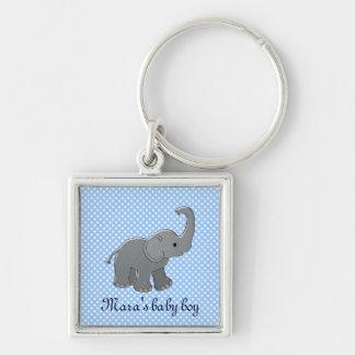 blue baby shower elephant keychain