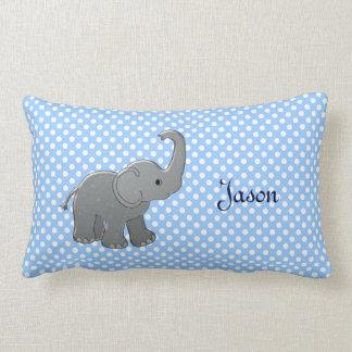 blue baby shower elephant lumbar pillow