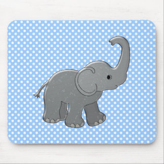 blue baby shower elephant mouse pad