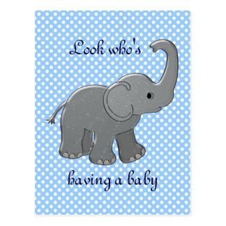 blue baby shower elephant postcard