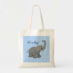 Blue Baby Shower Elephant Tote Bag at Zazzle