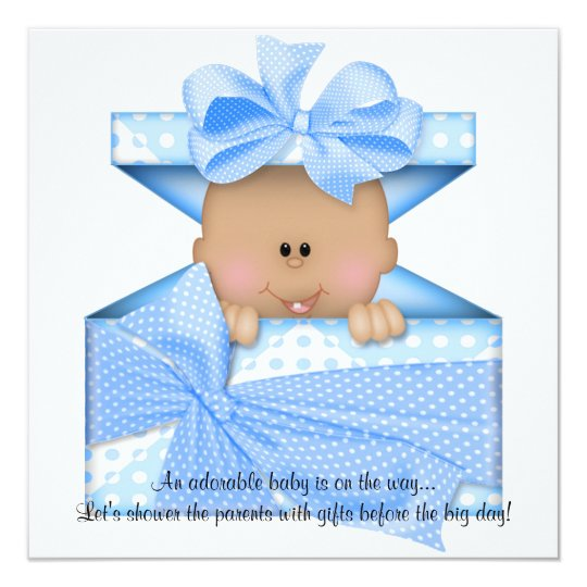 Blue Baby Shower Invitation African American