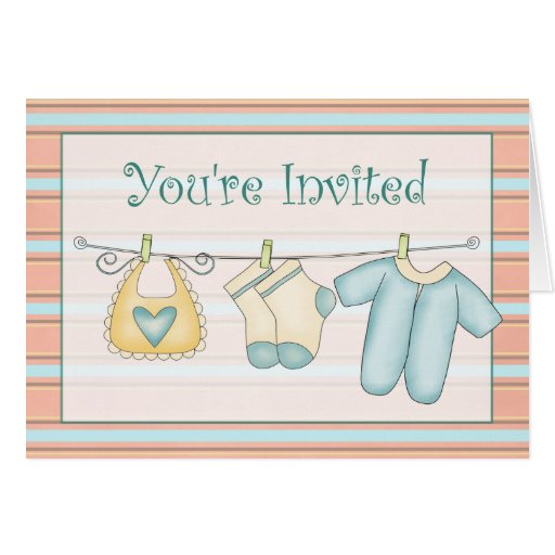 Blue Baby Shower Invitation Greeting Card