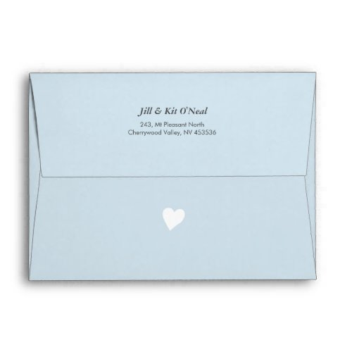 Blue baby shower invite envelopes with tiny heart