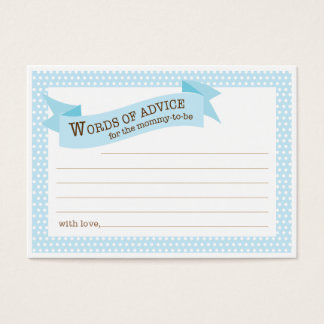 Blue Baby Shower Mommy Advice Card