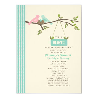 Blue Baby Shower Mommy & Daddy Birds & Nest Card