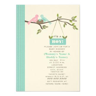 "Blue Baby Shower Mommy & Daddy Birds & Nest 5.5"" X 7.5"" Invitation Card"