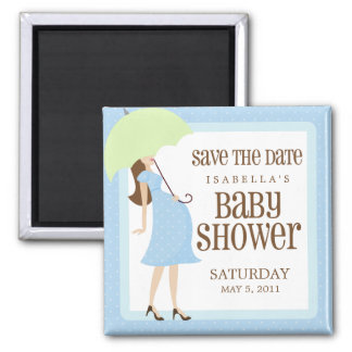 Blue Baby Shower Save The Date 2 Inch Square Magnet