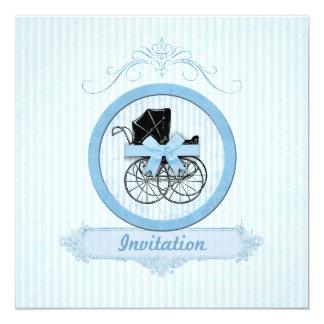 Blue Baby Shower Shabby Vintage Stripes Card