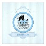 Blue Baby Shower Shabby Vintage Stripes 5.25x5.25 Square Paper Invitation Card