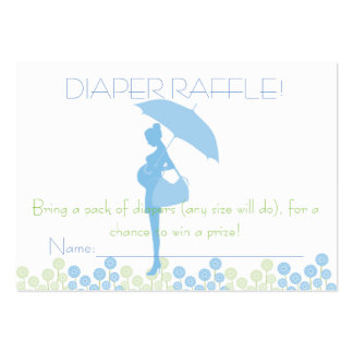 Blue Baby Shower Silhouette Diaper Raffle Tickets Large Business Cards (Pack Of 100)
