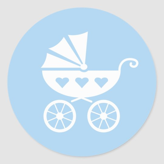 Blue Baby Shower Stickers With Cute Stroller Buggy