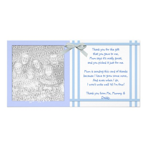 Blue Baby Shower Thank You Card from baby boy Picture Card