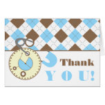 Blue Baby Shower Thank You -Diaper Pin & Argyle Greeting Card