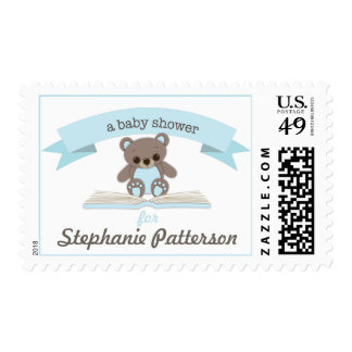 Blue Baby Teddy Bear Baby Shower Postage
