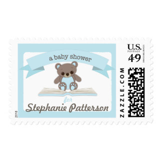 Blue Baby Teddy Bear Baby Shower Postage