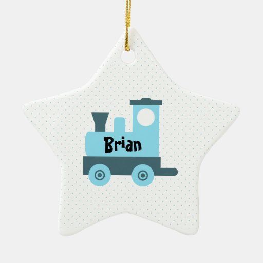Blue Baby Toy Train Star Ornament