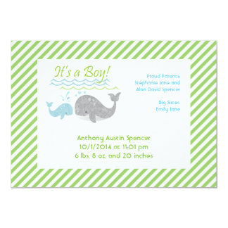 Blue Baby Whale Birth Announcement Cards