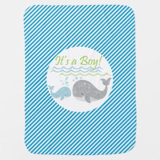 Blue Baby Whale Blue Stripe Baby Blanket