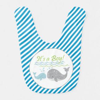 Blue Baby Whale Blue Stripe Bib