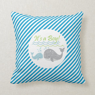 Blue Baby Whale Blue Striped Pillow