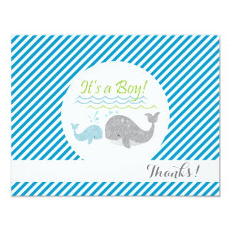 Blue Baby Whale Blue Stripes Thank You Cards
