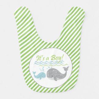 Blue Baby Whale Green Stripe Bib