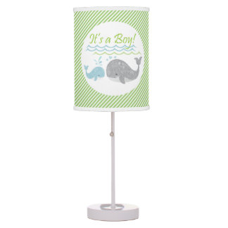 Blue Baby Whale Green Striped Lamp