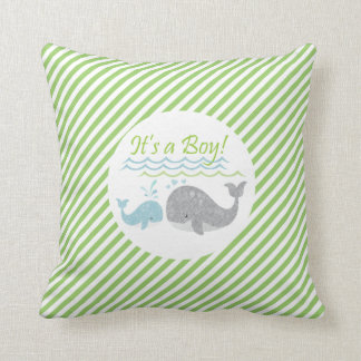 Blue Baby Whale Green Striped Pillow