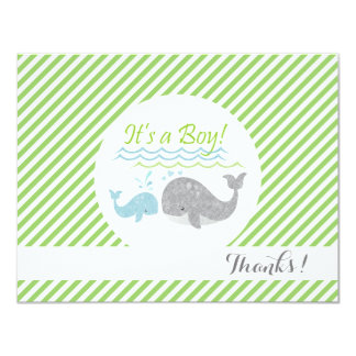 Blue Baby Whale Green Stripes Thank You Cards