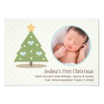 Blue Baby's First Christmas Tree Photo Card Invites