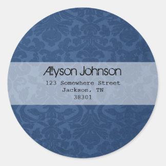 Blue Background Address Labels Classic Round Sticker