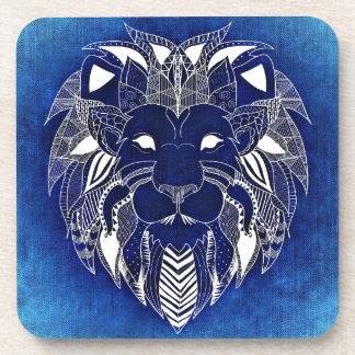 Blue Background Lion Cat Beverage Coasters
