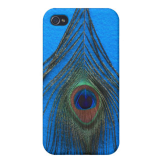 Blue Background Peacock Feather Case For iPhone 4