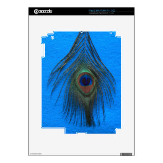 Blue Background Peacock Feather Decal For iPad 2
