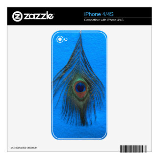 Blue Background Peacock Feather Skins For The iPhone 4