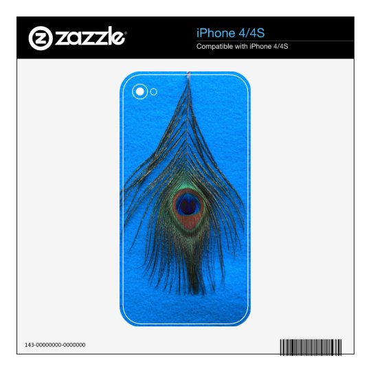 Blue Background Peacock Feather Skin For The iPhone 4