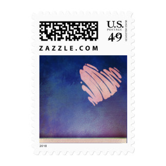 Blue background  - pink heart love stamp