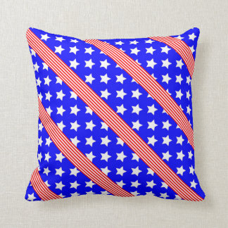 Blue Background White Stars, and Red White Stripes Pillow