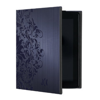 Blue Background With Blue Floral Lace iPad Folio Case