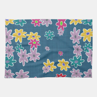 Blue Background with Colorful Flowers Pattern Hand Towel