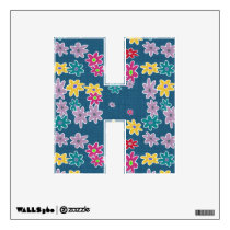 Blue Background with Colorful Flowers Pattern Wall Decal