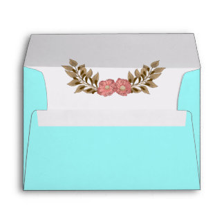 Blue background with Pink and Brown Floral Laurel Envelope