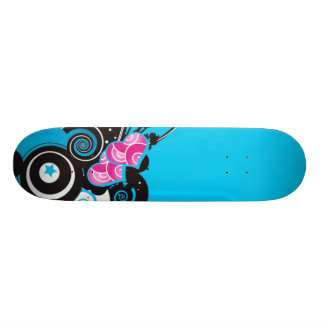 blue-background-with-shapes skateboard deck