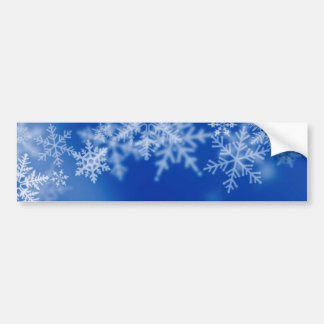 Blue background with snow flakes. bumper sticker