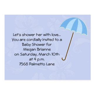 Blue Background with Umbrella Baby Shower Invitati Postcard