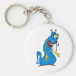 Blue bacteria basic round button keychain