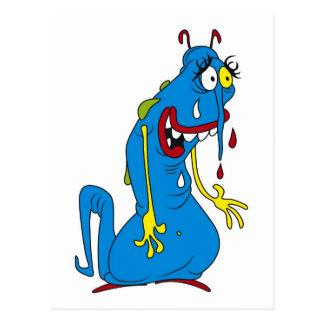 Blue bacteria postcard