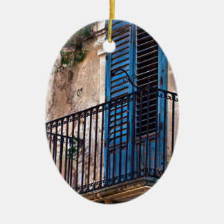 Blue balcony in Sicily Ceramic Ornament